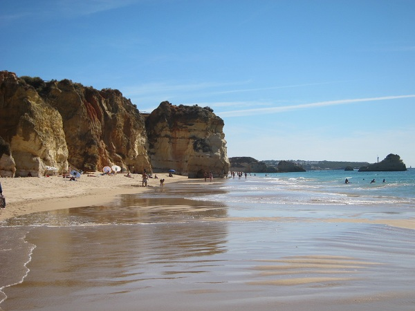 portugal algarve portimao white sandy beach