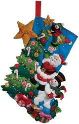 Bucilla 18-Inch Christmas Stocking Felt Applique Kit, The Finishing Touch