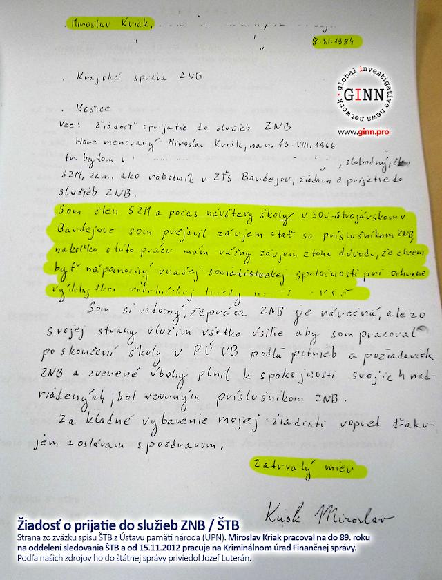 Žiadosť o prijatie do služieb ZNB / ŠTB