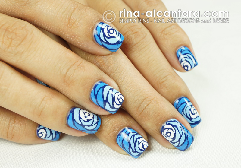 Blue Wave Nail Art Design - Artistic Shot