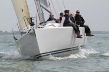 J/109 sailing upwind on Solent