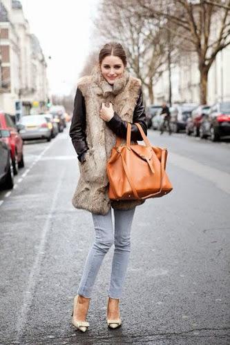 Olivia Palermo con chaleco de piel