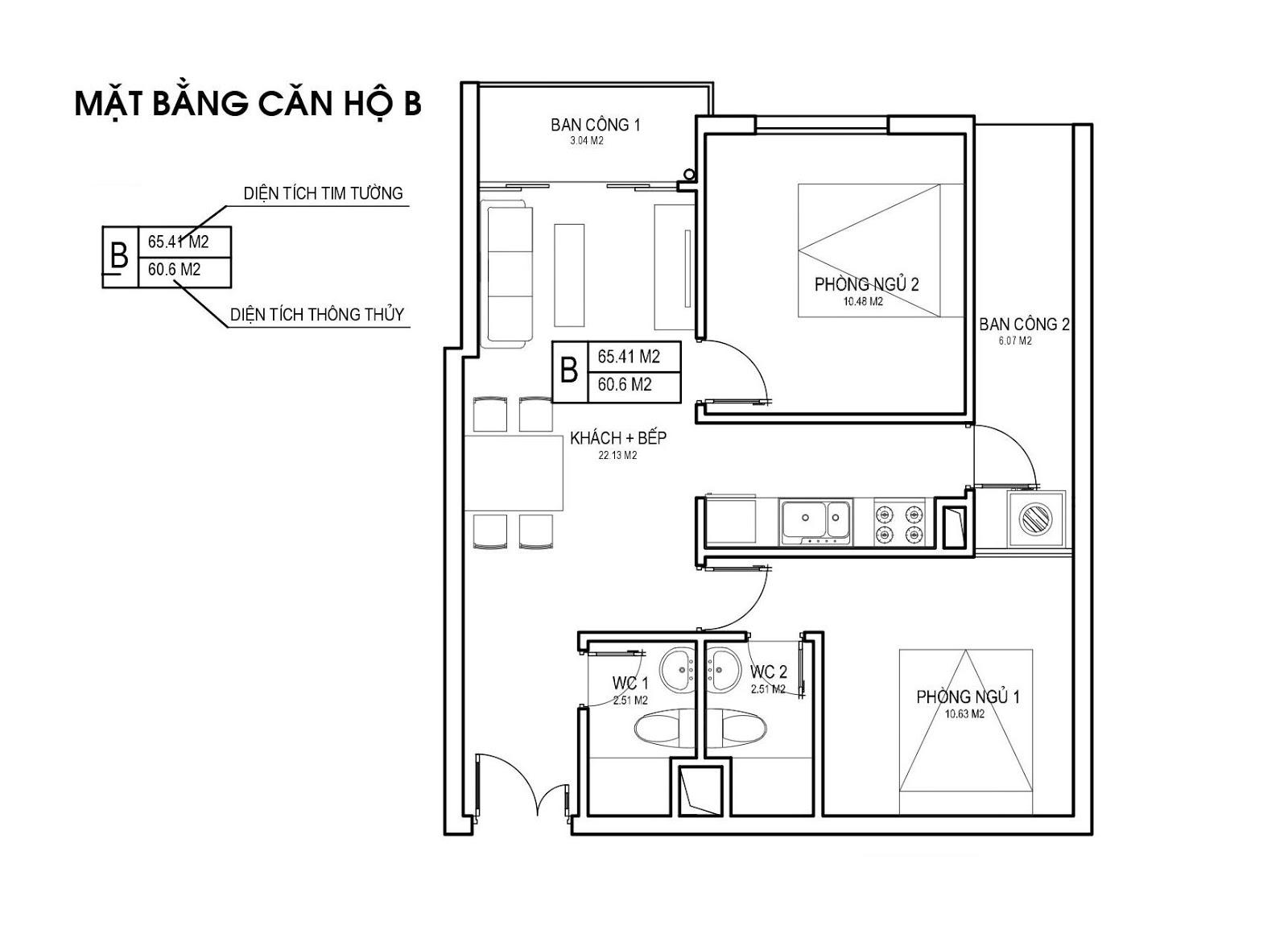 Mặt bằng căn hộ B 60m 2 PN Chung cư FLC Apartment Phạm Hùng
