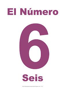 Lámina para imprimir el número seis en color morado