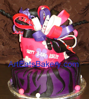 Two tier pink, black and white animal print custom zebra design birthday cake with monogram topper   - picture
