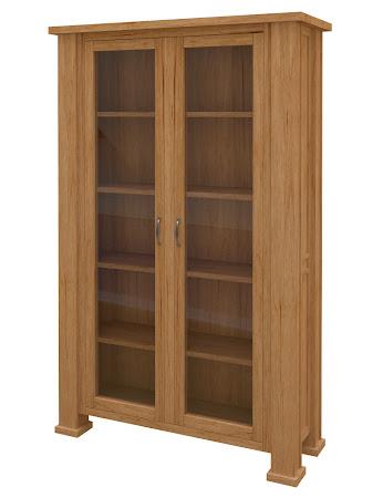 Hagen Glass Door Bookshelf in Calhoun Maple