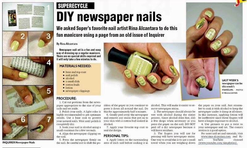 Newspaper nail art simply rins newspaper nails tutorial prinsesfo Choice Image
