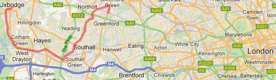 Greenford to Uxbridge route