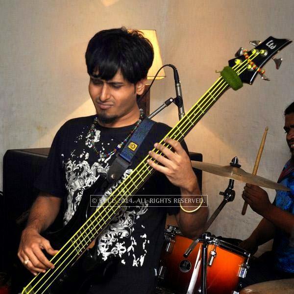 Bachospati Chakraborty from the band Bramhakhyapa performs at Plush in Kolkata.