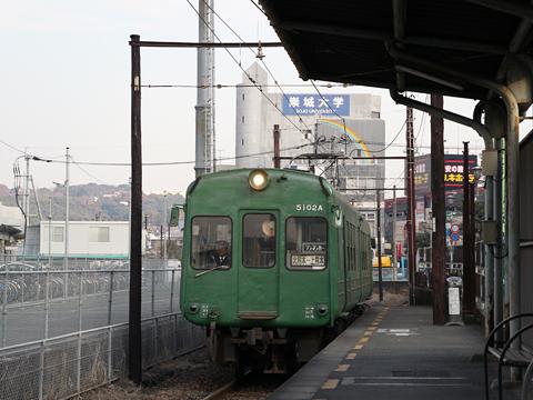 熊本電気鉄道 5000系電車 5102A形 上熊本駅 入線