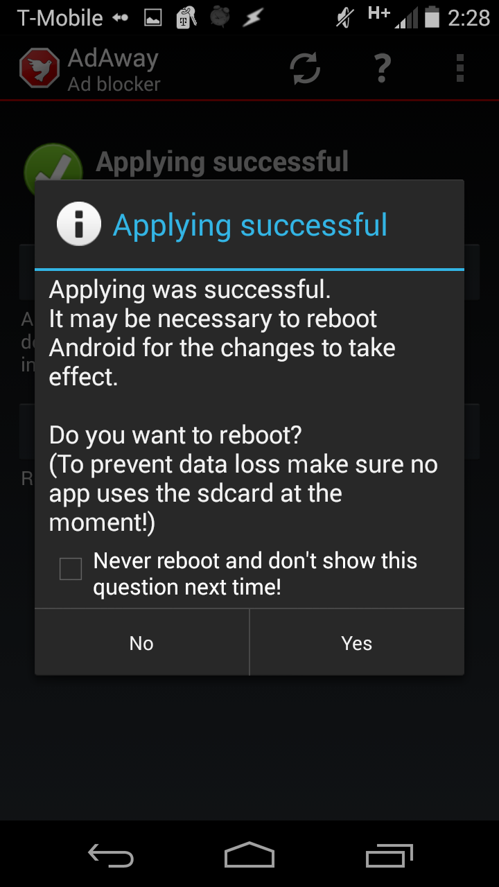 AdAway - Reboot Option