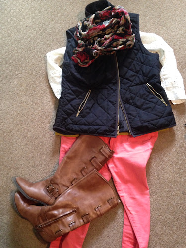 Fashion Friday black puffy vest peach skinny jeans