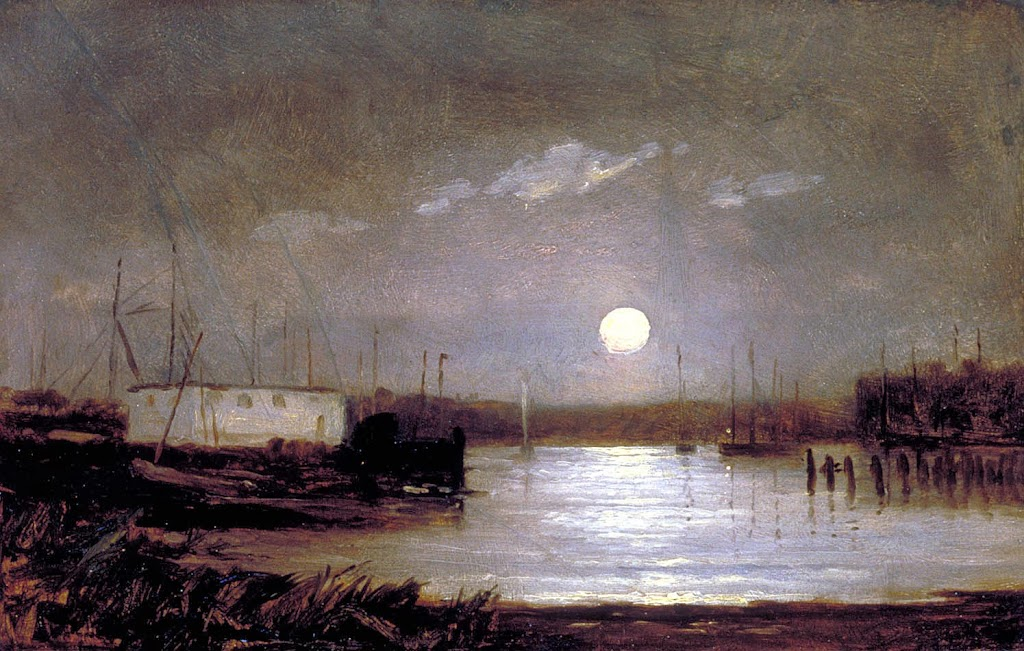 Edward Mitchell Bannister - Untitled (moon over a harbor, wharf scene with full moon and masts of boats)