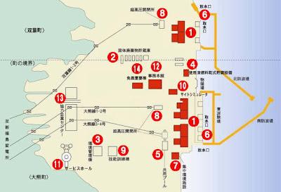 福島第一核電廠配置圖,標1的位置是電力設備區