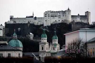 Salzburg city skyline with castle and churches in Austria