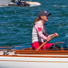 Heather Gregg-Earl sailing IOD on Nantucket