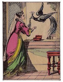 illustration femme paon