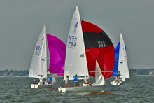 J/22 one-design sailboats- sailing Houston's Galveston Bay