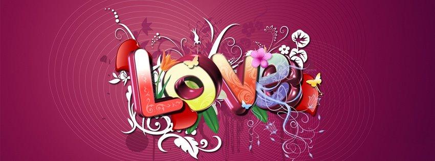 ảnh bìa facebook trái tim với chữ Love