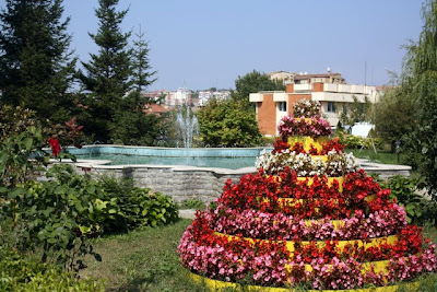 Fountain and flowers in central Pristina Kosovo