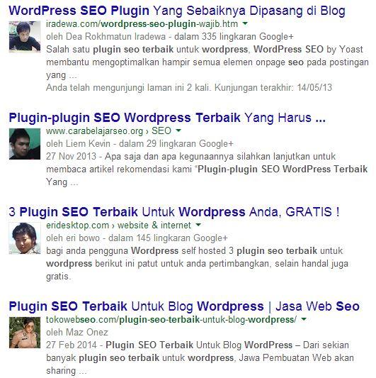hasil pencarian dengan authorship markup (sudah tidak berlaku)