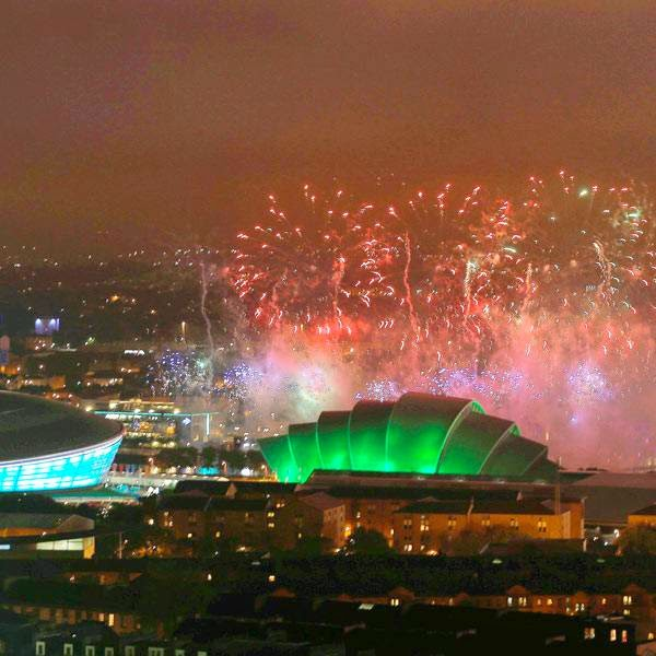 Fireworks light up over the Commonwealth Games venues in Glasgow, Scotland July 23, 2014.