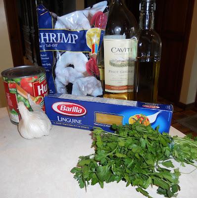 Shrimp and pasta ingredients