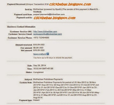 Payment proof from BidVertiser September 2014