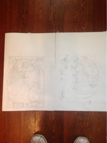 I placed the drawings side by side to see if they work together visually