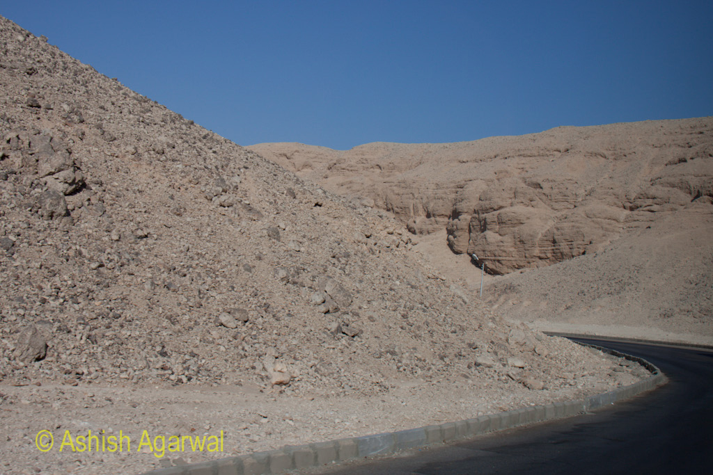 Road from the Valley of the Kings, running through limestone hills, outside Luxor