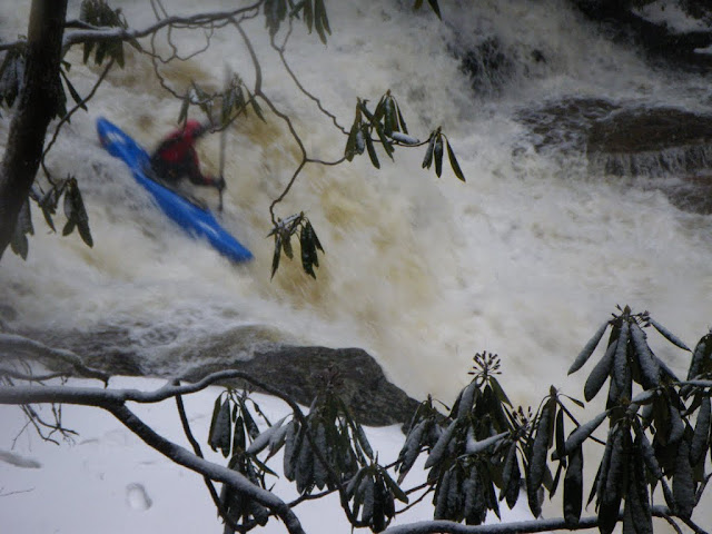 We did go kayaking, eventually. Definitely the coldest day of kayaking I can remember. Geoff Calhoun runs Mood Ring, Red Creek, WV.