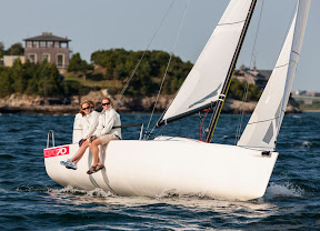 J/70 one-design sailboat- sailing upwind