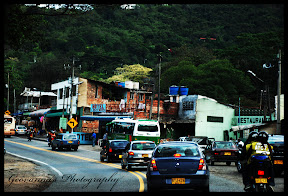 Shoot taken from car while in motion of the very narrow highways, in Colombia, South America