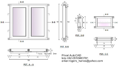 Contoh detail kusen jendela beserta daunnya untuk privat AutoCAD