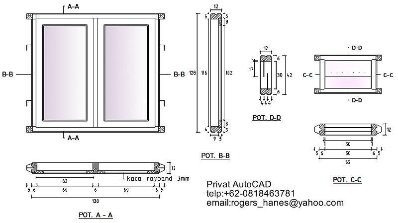Privat Autocad Profesional Gambar Detail Kusen Pintu Dan