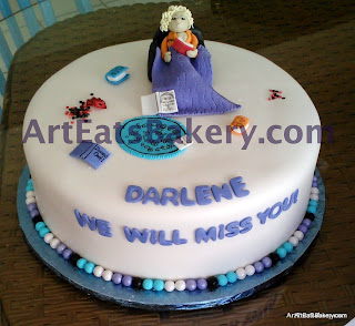 Unique custom purple, blue, white, and black fondant retirement cake with sugar character, edible books and poker chips