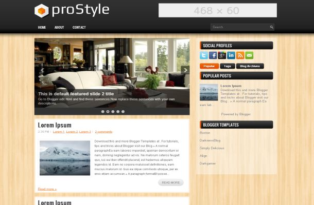Wooden Black Business Blogger Theme Template