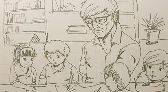 Ảnh vẽ thầy giáo đang giảng bài
