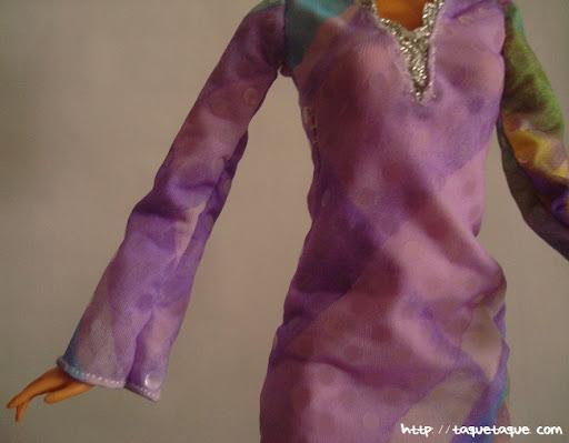 Diseños OOAK DIY by Taque-Taque para Barbie Fashionista: detalle de la parte superior del vestido