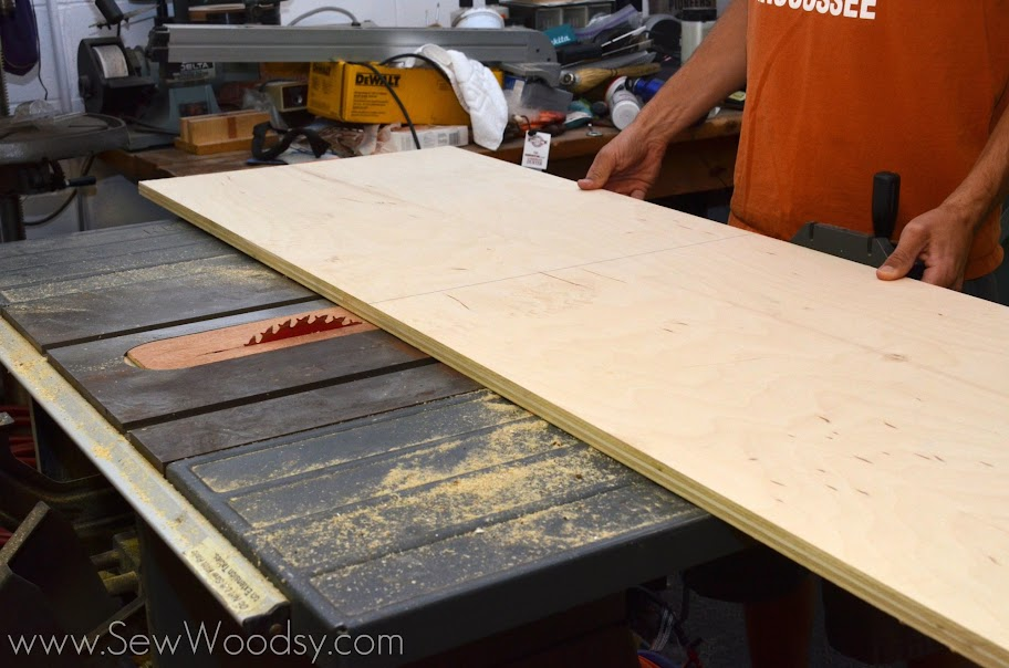 Cutting plywood on the table saw for kitchen island shelf