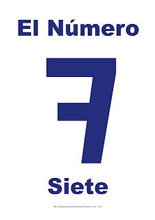 Lámina para imprimir el número siete en color Azul