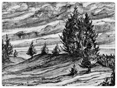 Hünengrab. Steinzeicbnung von Paul Ricken. click to einlagre