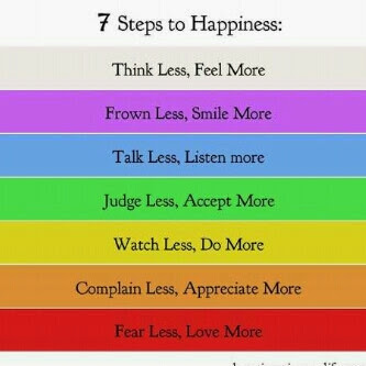 7 Step to Happines, That is : 1. Think Less, Feel More 2. Frown Less, Smile More 3. Talk Less, Listen More 4. Judge Less, Accept More 5. Watch Less, Do More 6. Complaint Less, Appreciate More 7. Fear Less, Love More