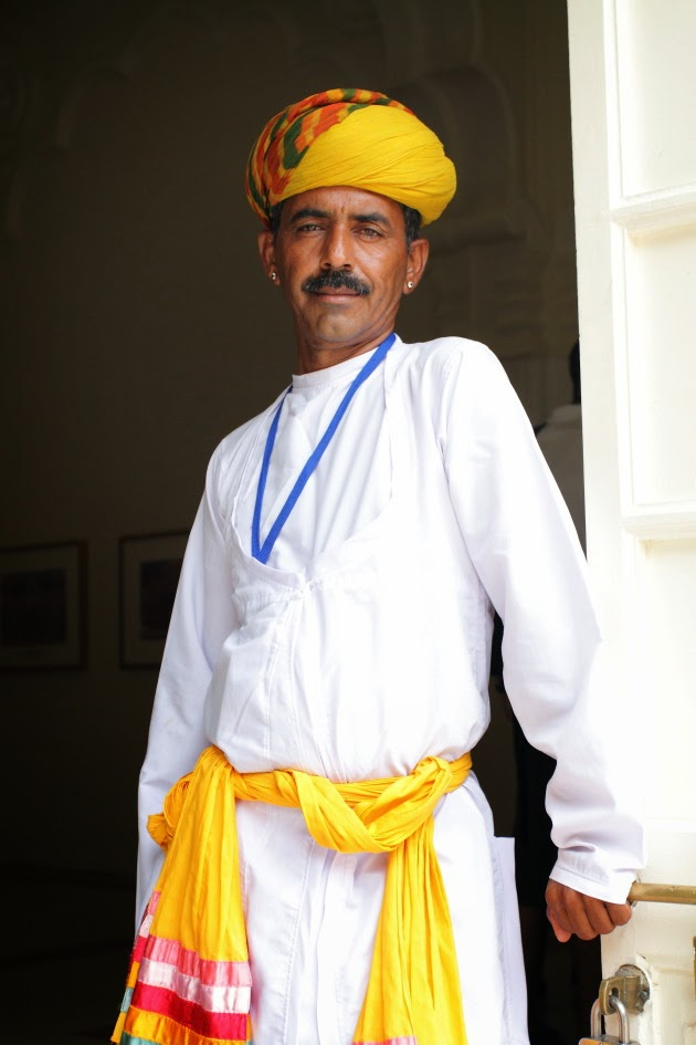 Rajasthani man dressed in traditional attire at Mehrangarh Fort, Jodhpur