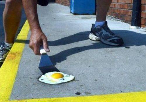ảnh vui chiên trứng trên nền nhà vì trời nóng