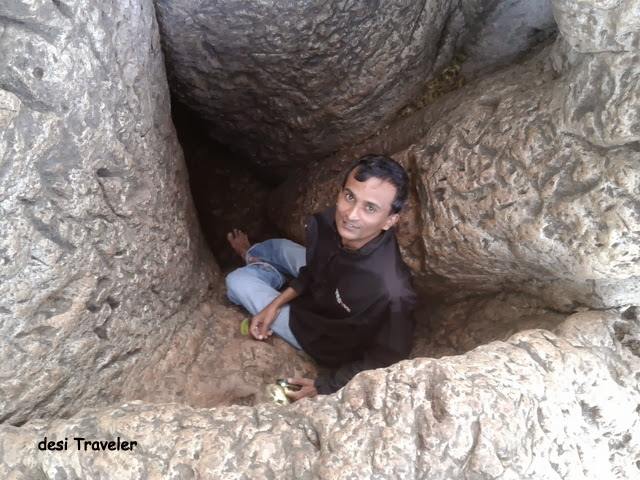 Entering the hollow inside Baobab Tree