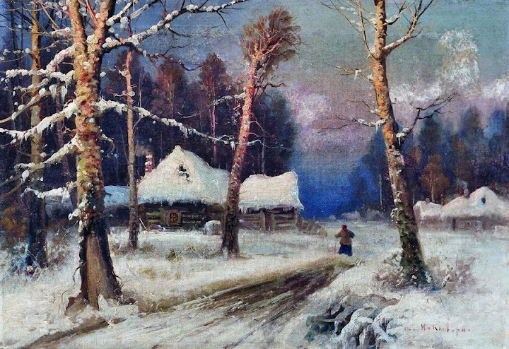 Julius Sergius von Klever - Winter evening in the village