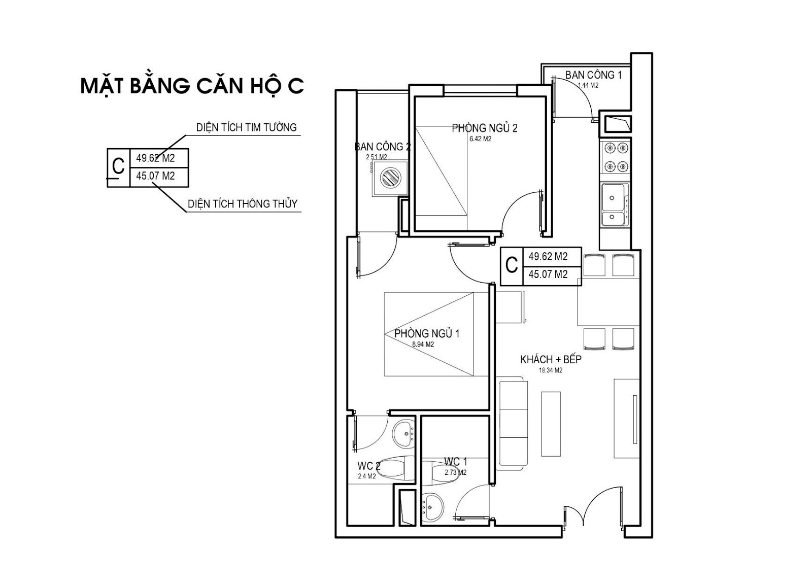 Mặt bằng căn hộ C 45m 2 PN chung cư FLC Green Apartment Phạm Hùng