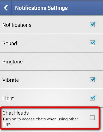 Turn off Chat Heads from Facebook Messenger