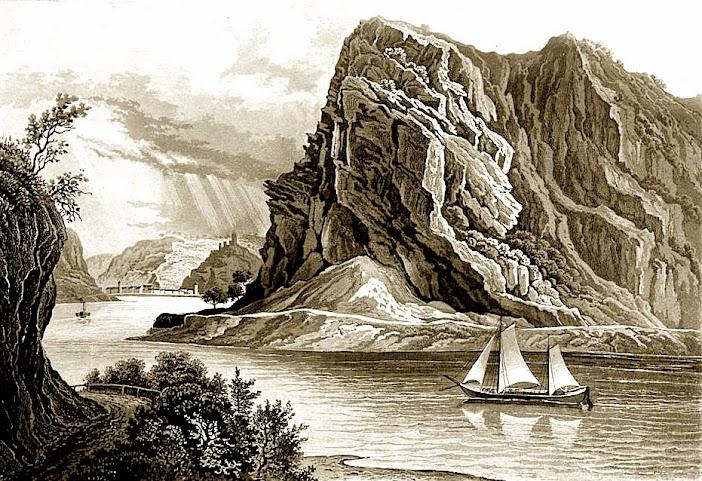 Рейн, скала Лорелей. Рисунок 1840 года.